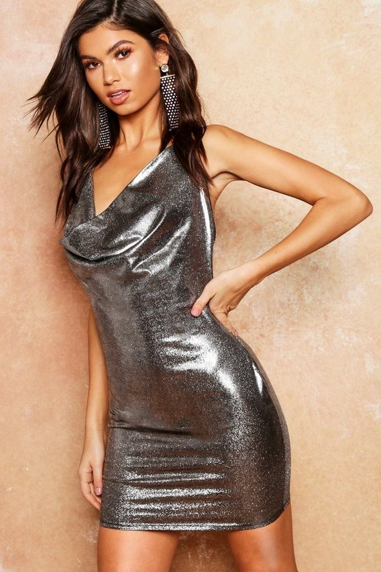 Metallic Cowl Halter Mini Dress