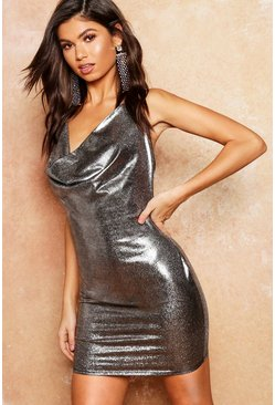 Womens Silver Metallic Cowl Halter Mini Dress