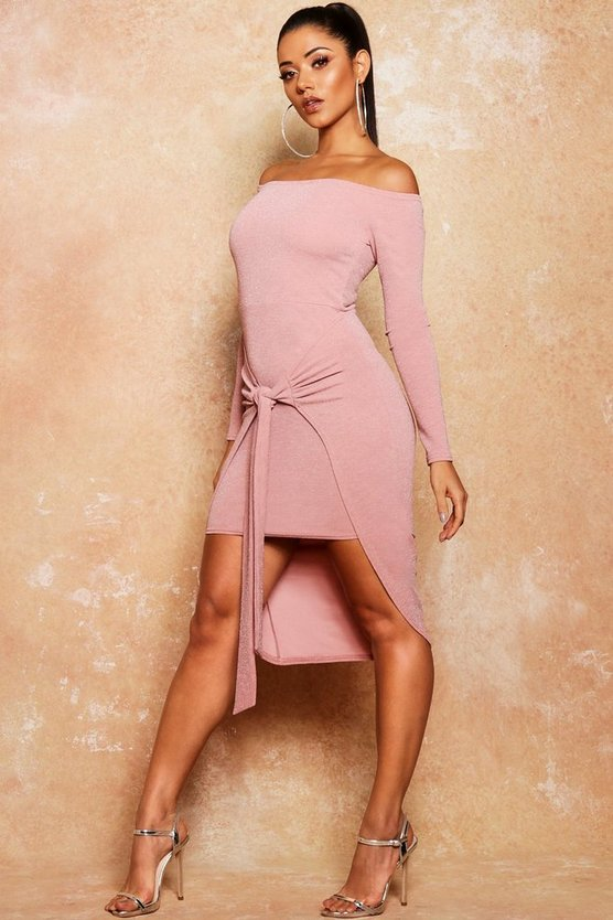 Metallic Off The Shoulder Tie Front Midi Dress