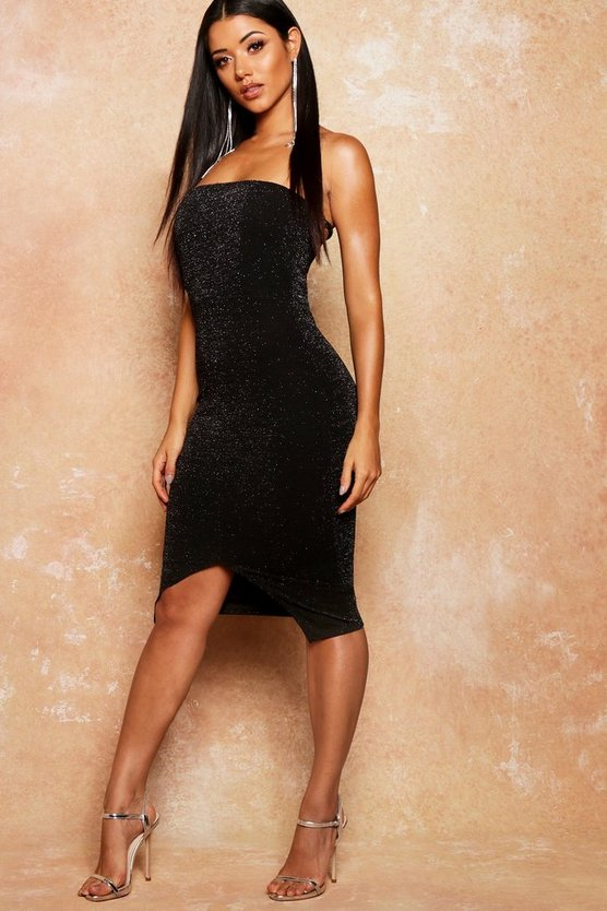 Womens Black Bandeau Metallic Split Front Midi Dress