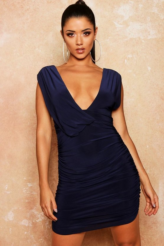 Slinky Draped Ruched Bodycon Dress