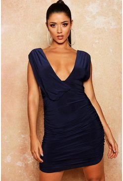 Womens Navy Slinky Draped Ruched Bodycon Dress