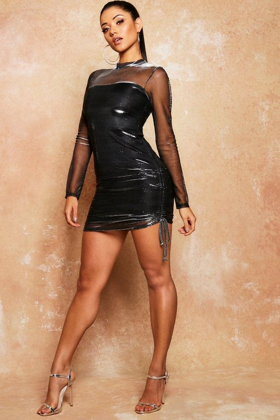 Glitter Mesh Ruched Tie Side Mini Dress