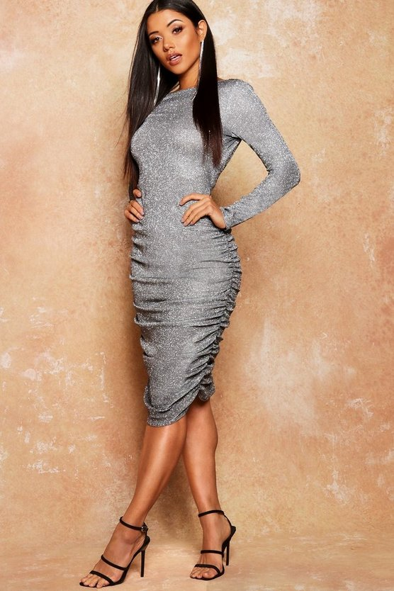 Silver Glitter Low Back Ruched Midi Dress