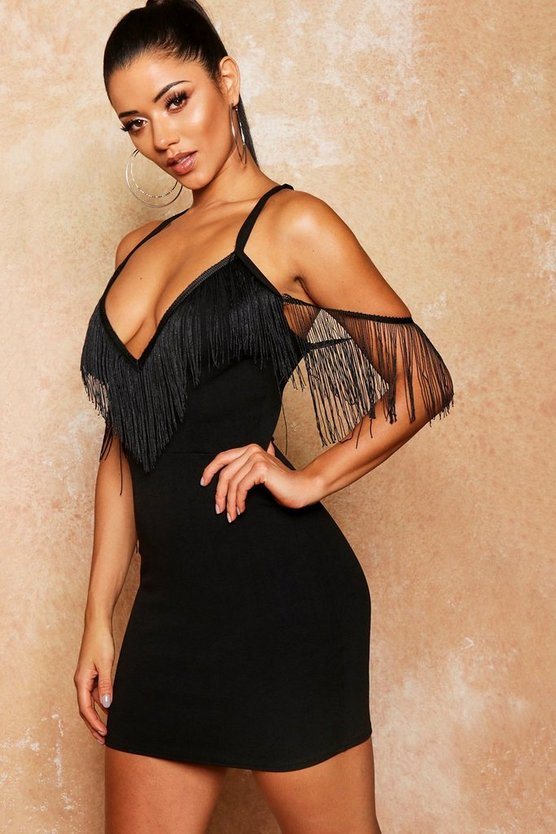 Womens Black Tassle Trim Detail Bodycon Dress