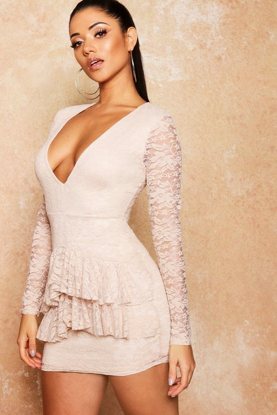 Lace Frill Detail Bodycon Dress