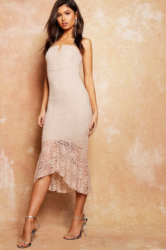 Womens Stone Lace Flute Hem Bandeau Midi Dress