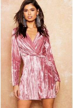 Womens Dusky pink Velvet Twist Front Mini Dress