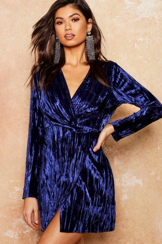 Velvet Twist Front Mini Dress
