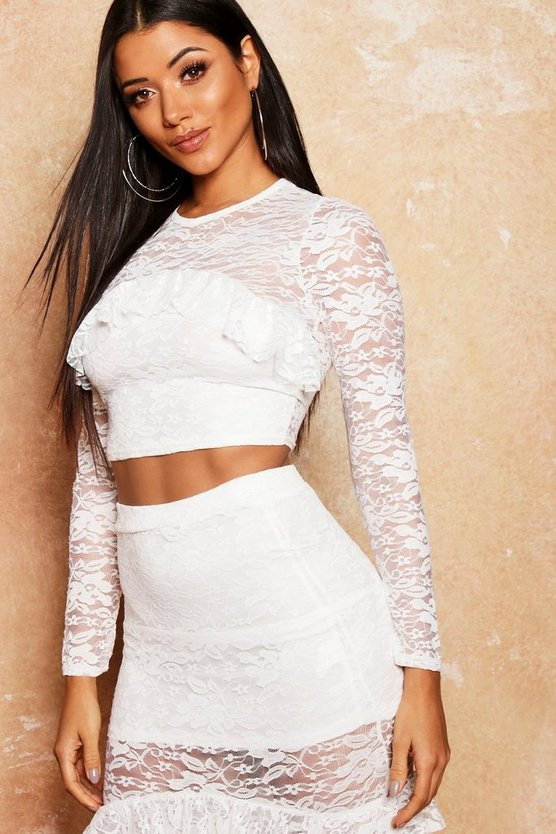 Lace Frill Detail Crop Top
