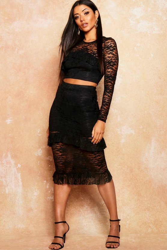 Womens Black Lace Frill Detail Fitted Midi Skirt