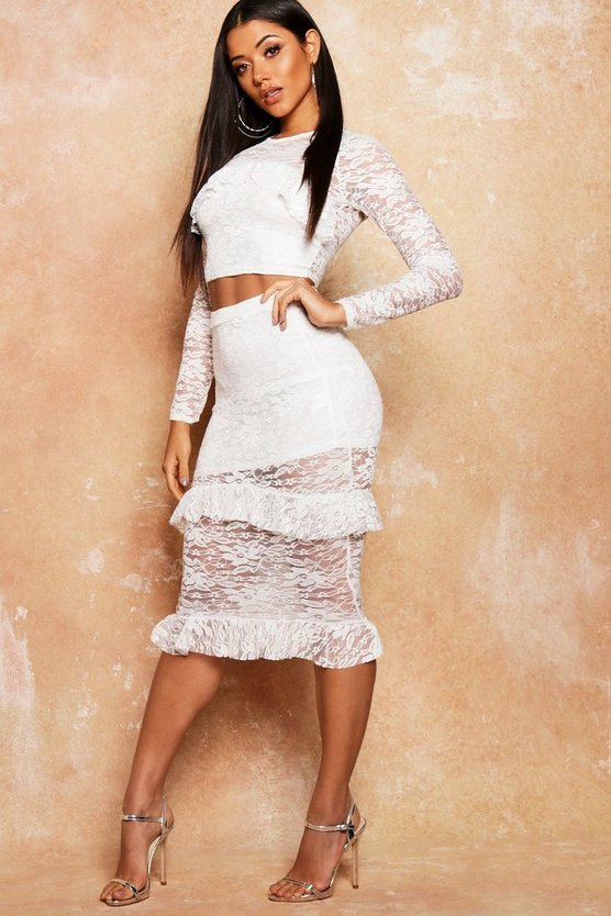 Lace Frill Detail Fitted Midi Skirt