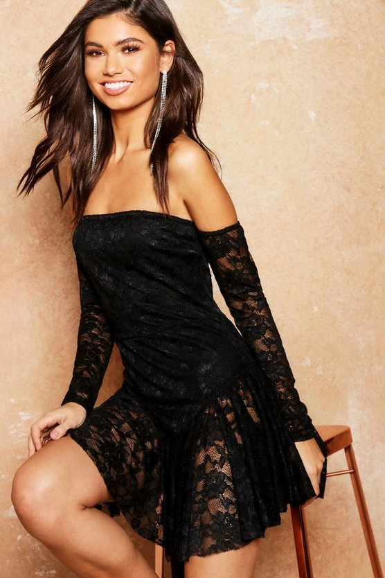 Lace Off The Shoulder Frill Hem Bodycon Dress