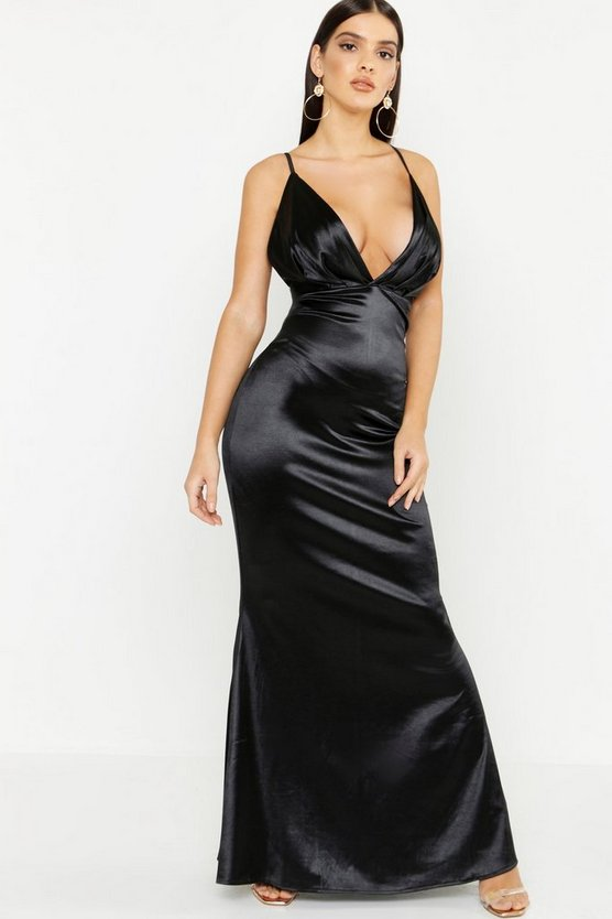 Womens Black Satin Plunge Seam Detail Maxi Dress