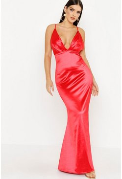 Womens Red Satin Plunge Seam Detail Maxi Dress