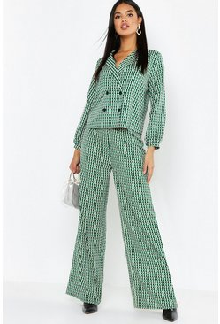 Green Geo Print Wide Leg Trouser