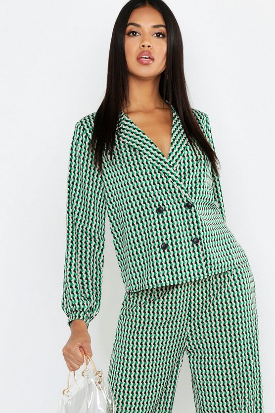 Womens Green Geo Print Revere Collar Shirt