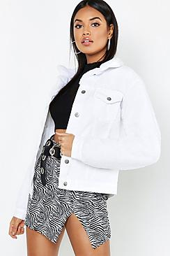 Teddy Sleeve White Denim Trucker Jacket