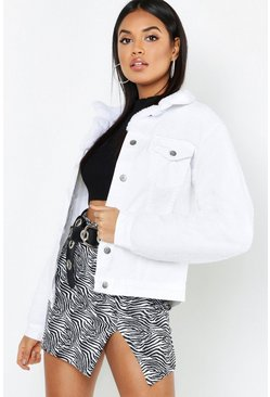 Womens Teddy Sleeve White Denim Trucker Jacket