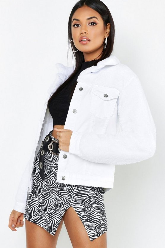Womens White Teddy Sleeve White Denim Trucker Jacket