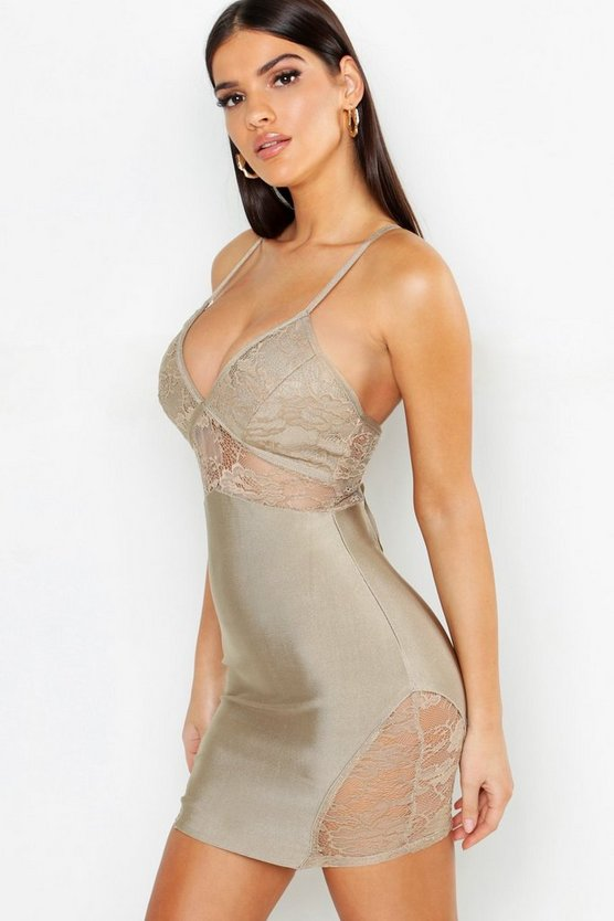Nude Lace Detail Strappy Contouring Bandage Bodycon Dress