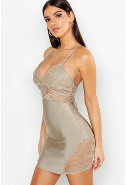 Womens Nude Lace Detail Strappy Bandage Bodycon Dress