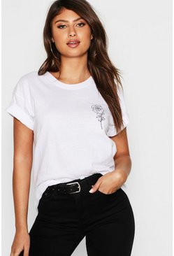 Womens White Rose Pocket Print T-Shirt