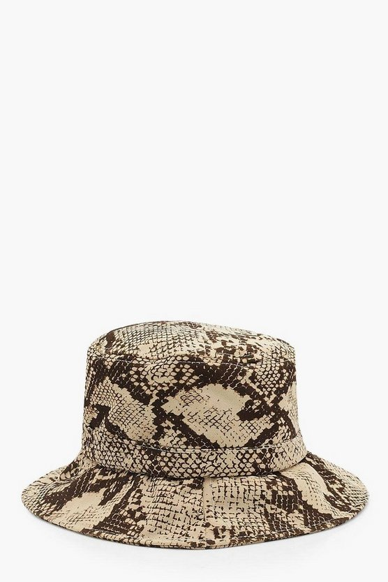 All Over Faux Snake Bucket Hat