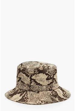 Womens Natural All Over Faux Snake Bucket Hat