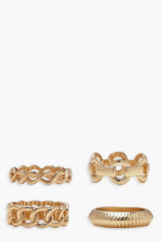 Womens Gold Chain Ring Pack