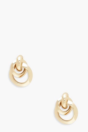 Womens Gold Multi Circle Linked Earrings