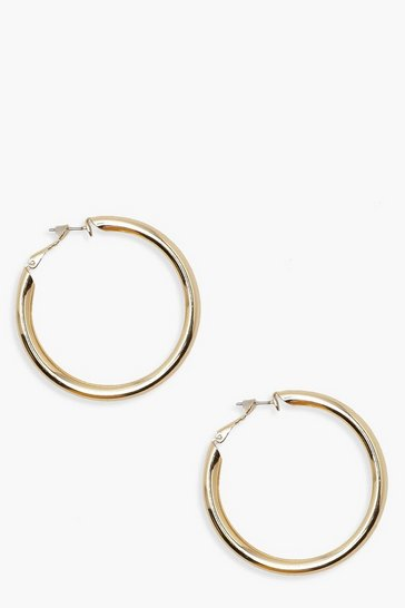 Womens Gold Simple Chunky Hoops