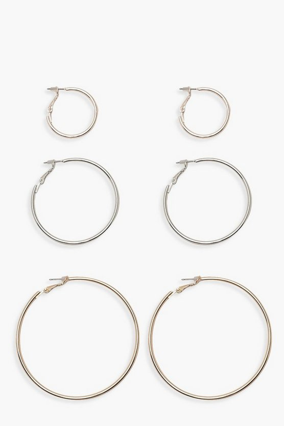 Womens Multi Mixed Metal & Size Hoop Pack