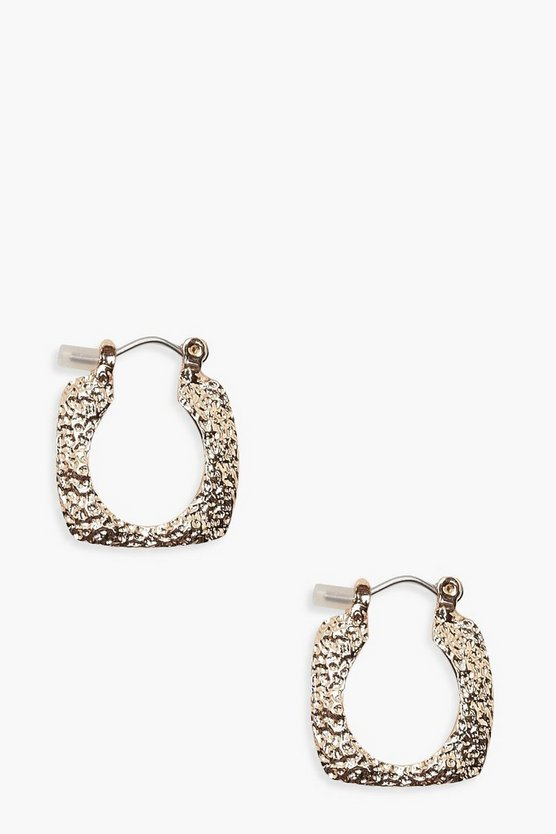 Womens Gold Textured Square Mini Hoops