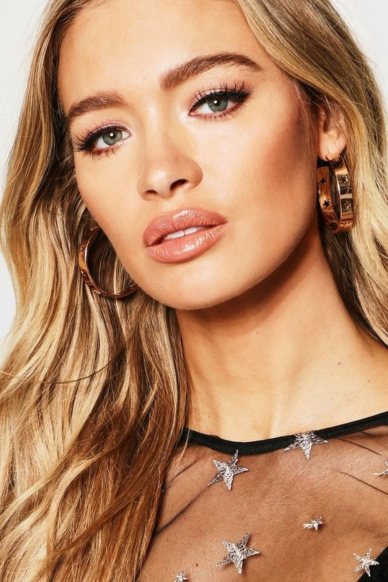 Womens Gold Star Cut Out Hoops