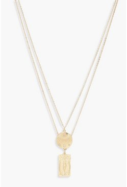 Womens Gold Tarot Card & Coin Layered Necklace