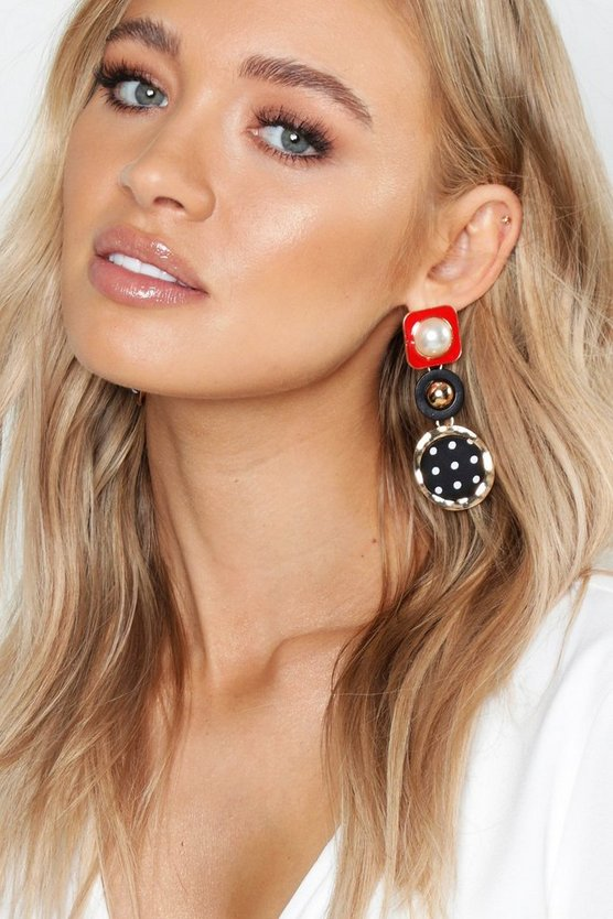 Womens Multi Nautical Pearl Statement Earrings