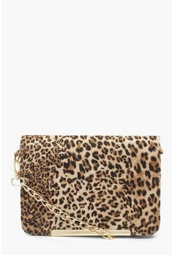 Dam Natural Leopard Quilted Cross Body Bag