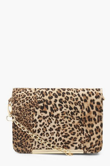 Womens Natural Leopard Quilted Cross Body Bag