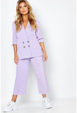 Womens Lilac High Rise Cord Cropped Wide Leg Jean