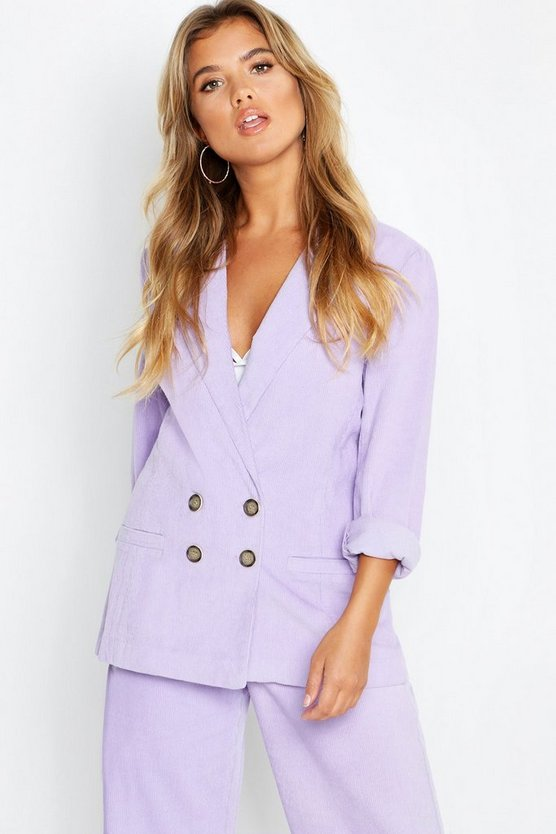 Womens Lilac Cord Button Blazer Jacket