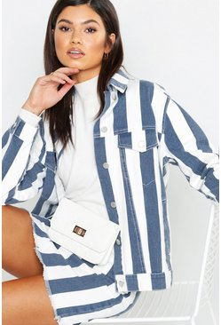 Womens Navy Stripe Denim Jacket
