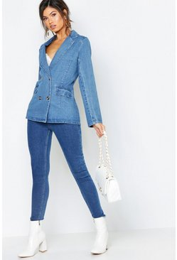 Womens Mid blue Denim Button Detail Blazer