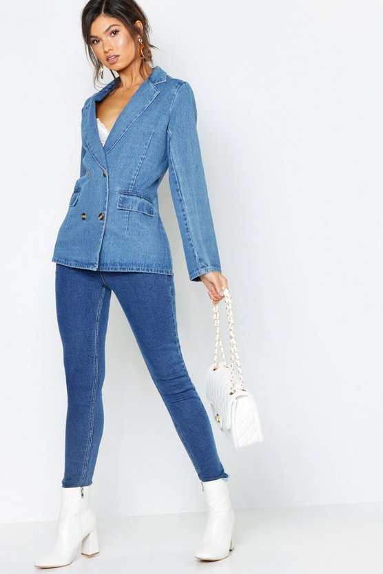 Blazer in denim con bottoni, Blu medio, Femmina