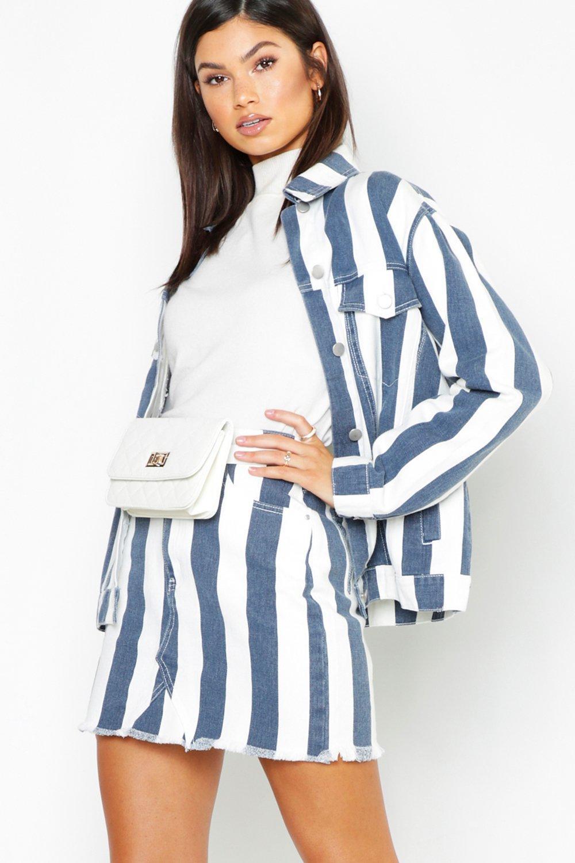 Navy Stripe Denim Mini Skirt