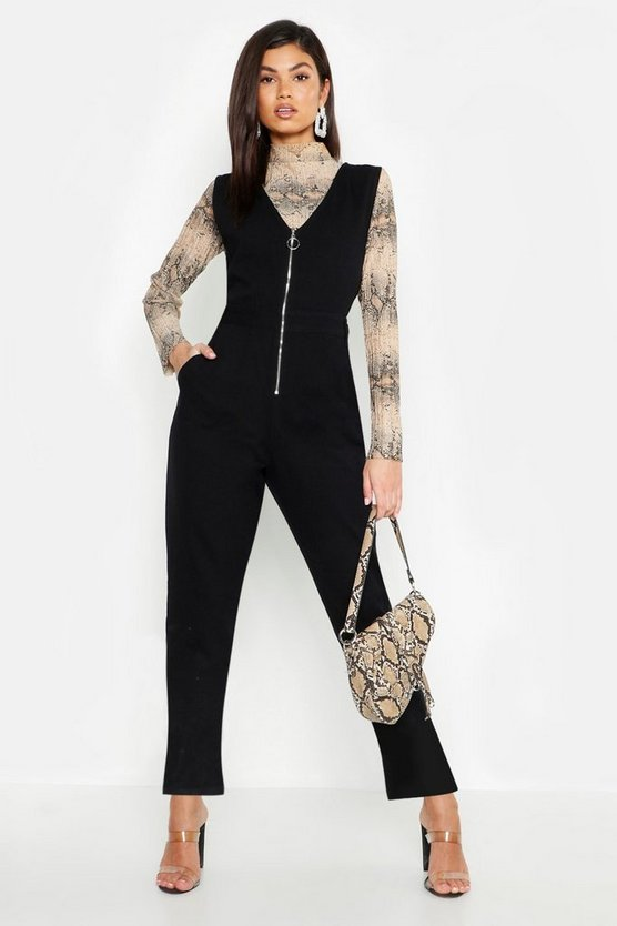 Womens Black Plunge Zip Utility Denim Boilersuit