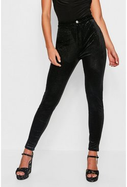 Womens Black Stretch Glitter Velvet Disco Jeans