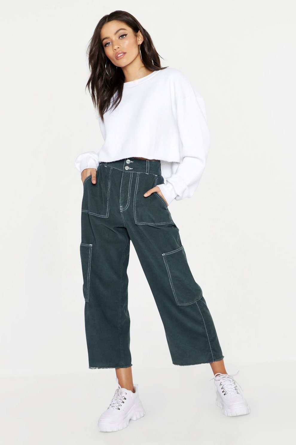 2b40d8cd9f34 High Rise Contrast Stitch Cord Utility Jeans | Boohoo