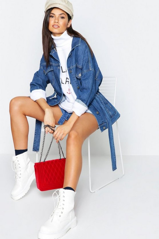 Belted Oversize Longline Denim Jacket