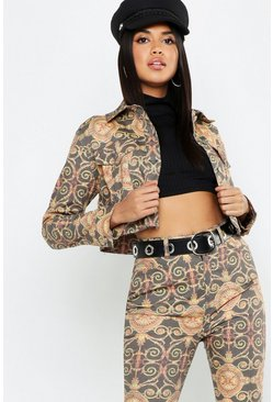 Womens Gold Chain Print Cropped Denim Trucker Jacket